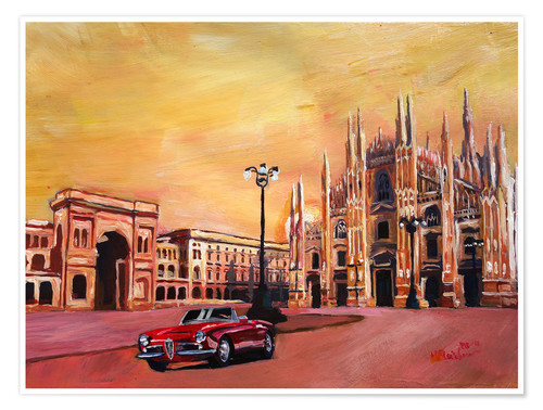 Póster Premium Milan Cathedral with Oldtimer Convertible Alfa Romeo