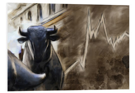 Quadro em PVC  Bull in front of Frankfurt Stock Exchange - Michael artefacti