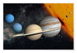 Póster Premium Planets and moons