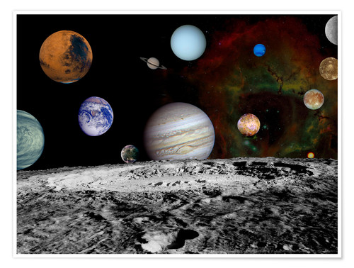 Póster Premium Montage of the planets