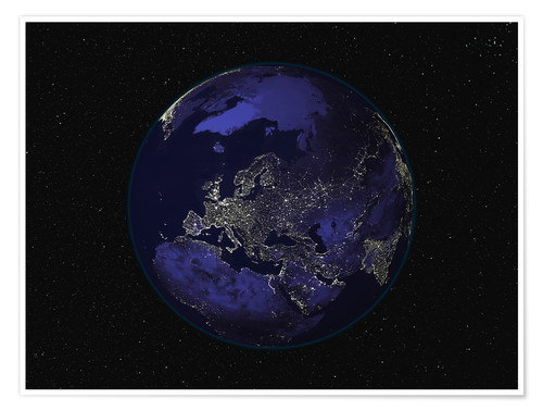 Póster Premium Earth at night - Europe