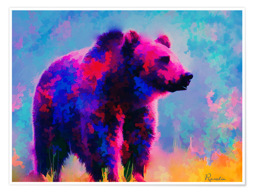 Póster Premium Grizzly Bear