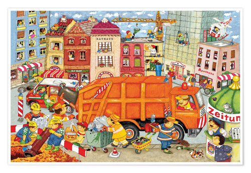 Póster Premium The garbage truck comes