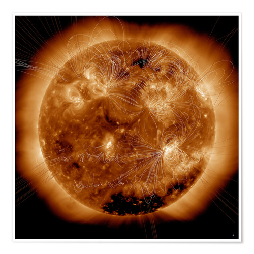 Póster Premium Magnetic field lines on the Sun
