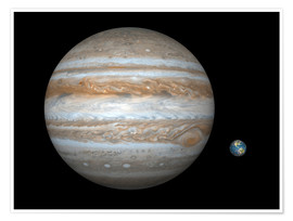 Póster Premium gas giant Jupiter and Earth
