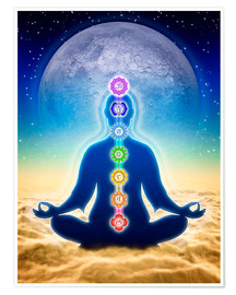 Póster Premium In Meditation With Chakras - Blue Moon Edition