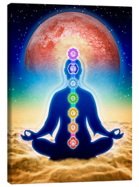 Quadro em tela  In meditation with chakras - red moon edition - Dirk Czarnota