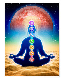 Póster Premium  In meditation with chakras - red moon edition - Dirk Czarnota
