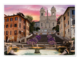Póster Premium  Piazza Di Spagna with the Spanish Steps - Dominic Davison