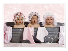 Póster Premium  Toddlers in flowery bonnets - Eva Freyss