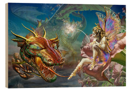 Quadro de madeira  The dragon and the fairy - Adrian Chesterman