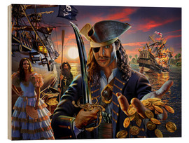 Quadro de madeira  The pirate - Adrian Chesterman