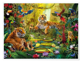 Póster Premium  Tiger Family in the Jungle - Jan Patrik Krasny