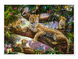 Póster Premium  Tree Top Leopard Family - Jan Patrik Krasny