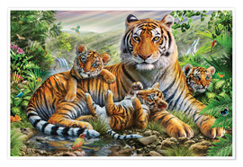 Póster Premium  Tiger and Cubs - Adrian Chesterman