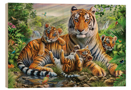 Quadro de madeira  Tiger and Cubs - Adrian Chesterman