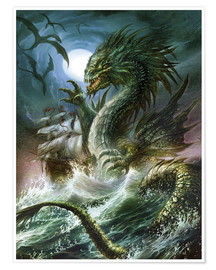 Póster Premium  The sea serpent - Dragon Chronicles