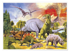 Póster Premium Land of the dinosaurs