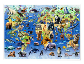 Póster Premium  One Hundred Endangered Species - Adrian Chesterman
