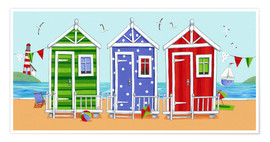 Póster Premium  Colorful beach huts - Peter Adderley