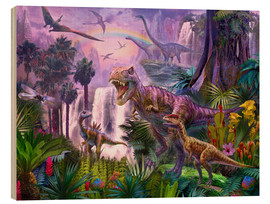 Quadro de madeira  Dinos in the jungle - Jan Patrik Krasny