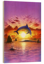 Quadro de madeira  Day of the dolphin - sunset - Robin Koni