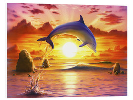 Quadro em PVC  Day of the dolphin - sunset - Robin Koni