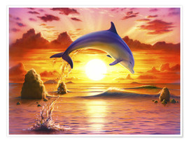 Póster Premium  Day of the dolphin - sunset - Robin Koni