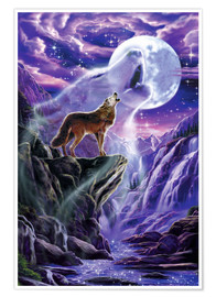 Póster Premium Howling wolf