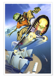 Póster Premium  Skateboarding over Opera House - Extreme Zombies