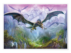Póster Premium  The Valley Of Dragons - Dragon Chronicles
