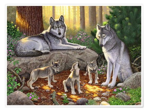 Póster Premium A family of wolves