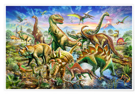 Póster Premium  Assembly of dinosaurs - Adrian Chesterman