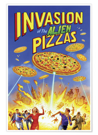 Póster Premium  Invasion of the alien pizzas - Gareth Williams