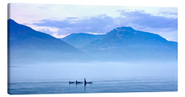 Quadro em tela  Three Killer whales in mountain landscape at Vancouver Island - Jürgen Ritterbach