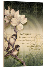 Quadro de madeira  Poem birds and flowers - Jody Bergsma