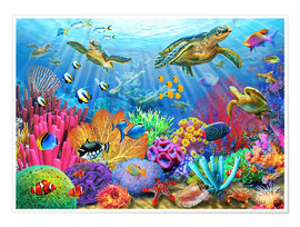 Póster Premium  Turtle coral reef - Adrian Chesterman