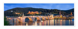 Póster Premium  Heidelberg skyline panorama at night with castle and Old Bridge - Jan Christopher Becke