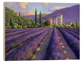 Quadro de madeira  Lavender field with Abbey - Jay Hurst