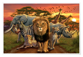 Póster Premium  African beasts - Andrew Farley