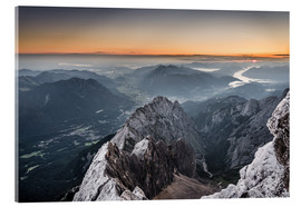 Quadro em acrílico  Sunrise from Zugspitze mountain with view across the alps - Andreas Wonisch