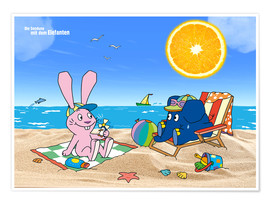 Póster Premium  Elephant and Hare go on holiday