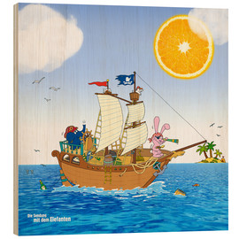 Quadro de madeira  Pirate ship in search of treasure
