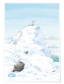 Póster Premium  The Little Polar Bear, at the top