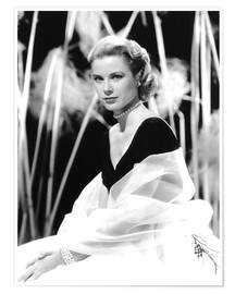 Póster Premium  Grace Kelly with a tulle shawl
