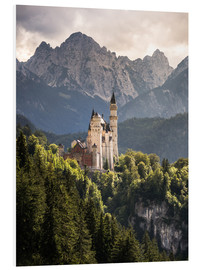 Quadro em PVC  Neuschwanstein Castle in front of the Alps - Andreas Wonisch