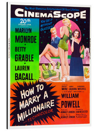 Quadro em alumínio  HOW TO MARRY A MILLIONAIRE, Betty Grable, Marilyn Monroe, Lauren Bacall