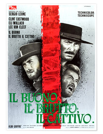 Póster Premium  THE GOOD, THE BAD AND THE UGLY, (IL BUONO, IL BRUTTO, IL CATTIVO), Clint Eastwood, Lee Van cleef, El