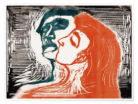 Póster Premium  Man and woman is kissing - Edvard Munch