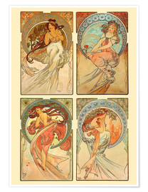 Póster Premium  The four arts - colagem - Alfons Mucha